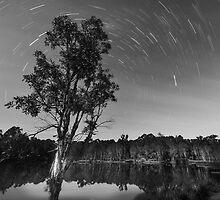 Star trails over lake by Sandra Boles