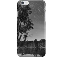 Star trails over lake iPhone Case/Skin