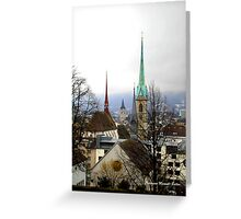 Winter view over Zurich Greeting Card