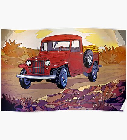 Old Jeep Car Poster