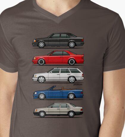 Stack of Mercedes Benz W124 E-Class Mens V-Neck T-Shirt