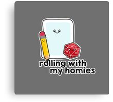 Polyhedral Pals - D20, Pencil, and Paper - Rolling with my Homies Canvas Print