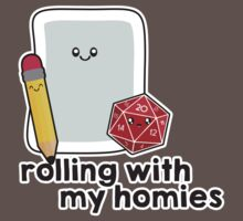 Polyhedral Pals - D20, Pencil, and Paper - Rolling with my Homies Baby Tee