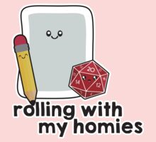Polyhedral Pals - D20, Pencil, and Paper - Rolling with my Homies One Piece - Short Sleeve