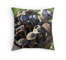 Nuts, bolts & roofing nails Throw Pillow