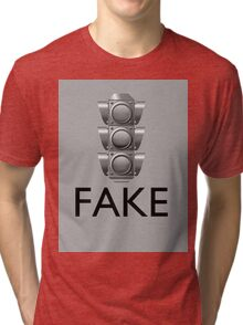 """Traffic Sign Fake"" Tri-blend T-Shirt"