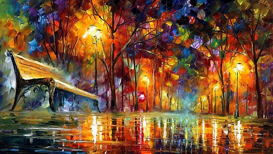 Night Perspective  - original oil painting on canvas by Leonid Afremov by Leonid  Afremov