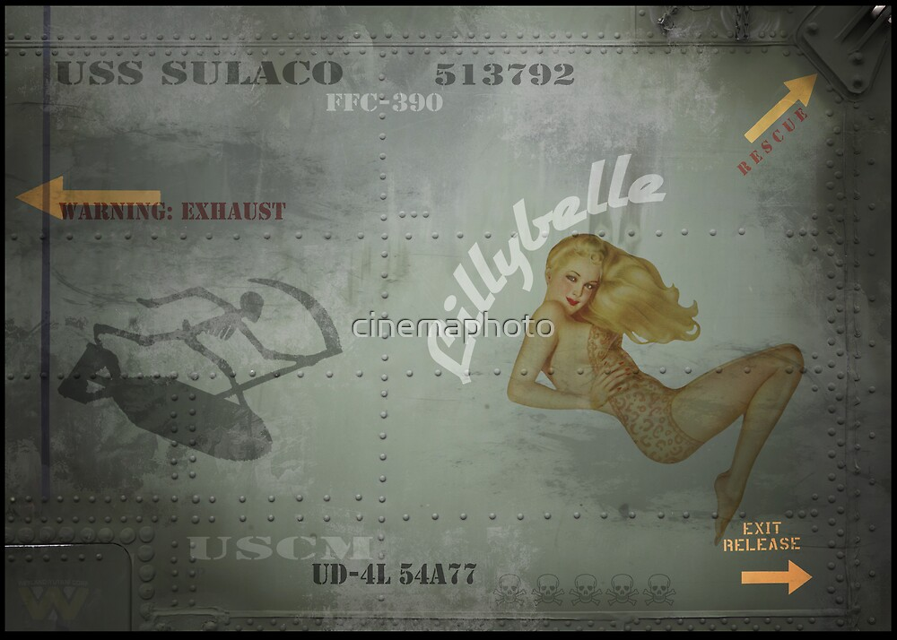 "USS Sulaco Dropship Pin Up Nose art ""Lillybelle"" PRINT by cinemaphoto"