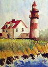 Little Red Striped Lighthouse by Jim Phillips