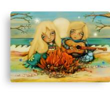 beach campfire Canvas Print