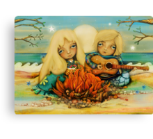 beach campfire Canvas Print