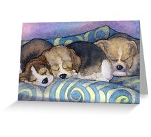 To sleep, perchance to dream - Beagle puppies on the sofa Greeting Card