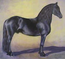"""Mink""   Friesian Stallion by Jean Farquhar"