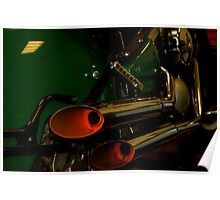 Exhausted- Vintage style Kawasaki exhausts.  Poster