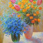 Tulips and forget-me-nots by Julia Lesnichy