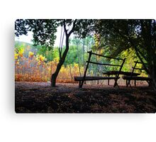 Peaceful benches - Autumn Sunset Canvas Print