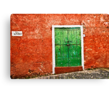 Red wall :: Green door Canvas Print