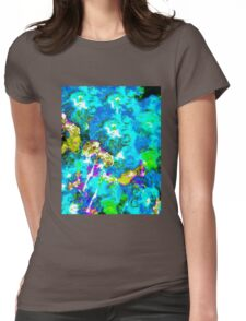 Hibiscus Impressionist Series - Blue Womens Fitted T-Shirt