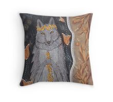 Wolf and flower crown Throw Pillow