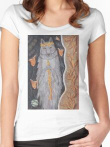 Wolf and flower crown Women's Fitted Scoop T-Shirt