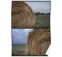 Rural landscape with a haystack Poster