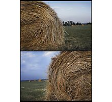 Rural landscape with a haystack Photographic Print