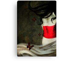 Corset Rojo y Mariposas Canvas Print