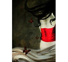 Corset Rojo y Mariposas Photographic Print