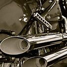 Exhausted- Vintage style Kawasaki exhausts (b&w) by Lou Wilson