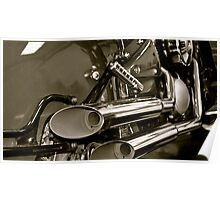Exhausted- Vintage style Kawasaki exhausts (b&w) Poster