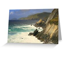 Where the mountains meet the sea Greeting Card