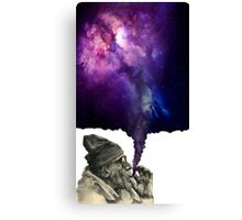 Old man smoking the universe Canvas Print