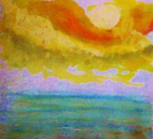 Lovely sunset over the ocean, watercolor by Anna  Lewis, blind artist