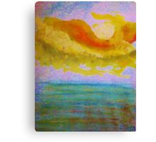 Lovely sunset over the ocean, watercolor Canvas Print