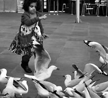 Girl and Seagulls by Andrew  Makowiecki