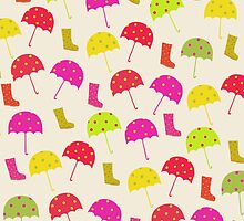 Umbrellas and Rain Boots:green, red, yellow, pink. by Cristina Bianco Design
