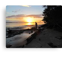 """SILHOUETTE IN THE SUNSET!' Bribie Island, Q. Canvas Print"