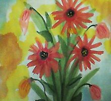 Daiseys in abstract, watercolor by Anna  Lewis