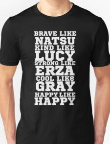Fairy Tail Logo Brave Like Natsu Dragneel Erza Scarlet Lucy Heartfilla Gray Fullbuster Anime Cosplay T Shirt Unisex T-Shirt