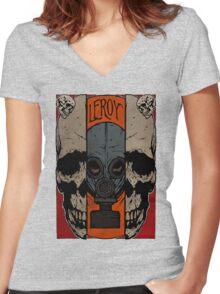 Split Skull Women's Fitted V-Neck T-Shirt