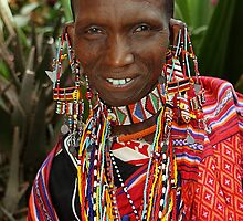 Portrait, Maasai or Masai Woman, East Africa  by Carole-Anne