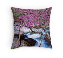 REDBUD ALONG LITTLE RIVER Throw Pillow