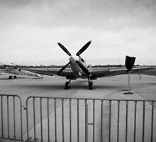 Spitfire and Tiger Moth - B&W by Joe Hupp