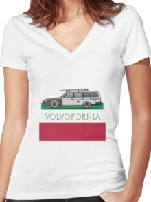Volvofornia Slammed Volvo 245 240 Wagon California Style Women's Fitted V-Neck T-Shirt