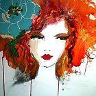 blue flower , red hair by RosWebb