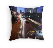 Catching the bus to Pacific Fair Throw Pillow