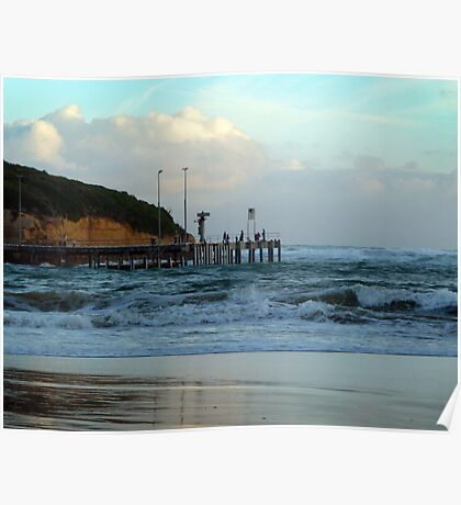 Port Campbell pier at dusk Poster