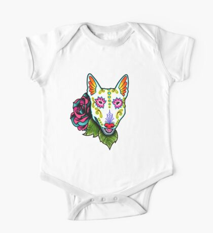 Day of the Dead Bull Terrier Sugar Skull Dog One Piece - Short Sleeve