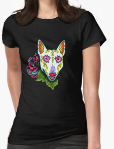 Day of the Dead Bull Terrier Sugar Skull Dog Womens Fitted T-Shirt
