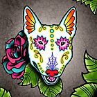 Day of the Dead Bull Terrier Sugar Skull Dog by prettyinink